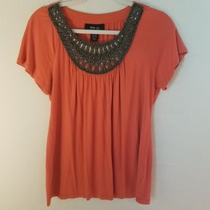 Style & Company Coral Top Beaded scoop neck Size M